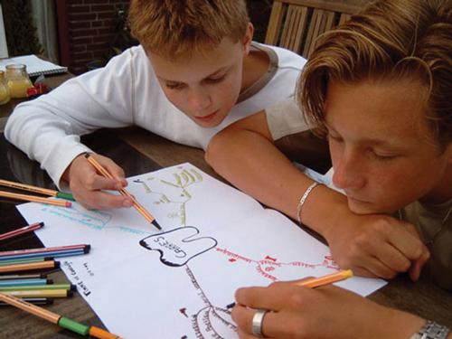 jongens maken conceptmap